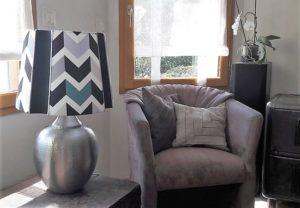 Abat-jour Carré Espagnol, tissu graphique pour un style moderne | Jade Création, abat-jour sur mesure (74)