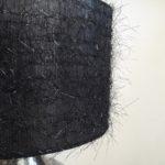 Tissu noir pétillant sur abat-jour cylindrique moderne pour lampadaire suspension ou lampe de table | Jade Création, fabricant abat-jour