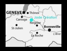 Situation de l'atelier d'abat jour Jade creation en Haute Savoie, près de Genève, Annemasse, Annecy, La Roche sur Foron, Thonon, Evian, Sallanches, Aix les Bains, Chambéry, Pays de Gex