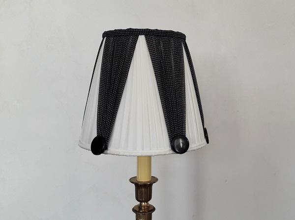 Abat Jour Plisse En Soie Noir Et Blanc Pour Lampe De Chevet