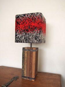 Abat-jour sur mesure pour lampe design en vieux bois pour style chalet montagne