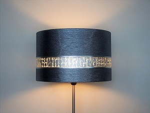Abat-jour haut de gamme tissu métallisé et bande argent ulgador en copeaux d'aluminium