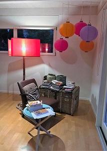 Grand abat-jour double écran orange et rose pour lampadaire Soie Zimmer rohde