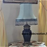 Pagode-soie-bleu-frange-perles-galon-Jade creation
