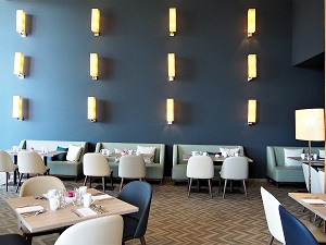 Applique raphia restaurant Hilton Evian Jade Création