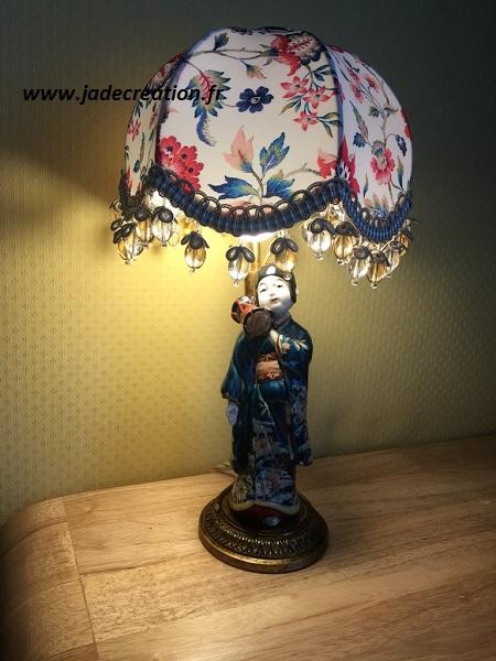 Lampe-abat jour- dome-soie-liberty-fleurs-houles